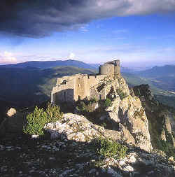Peyrepetouse_cathar_castle_on_hilltop_in_languedoc_roussillon_in_france_near_queribus