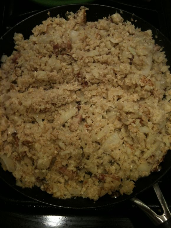 "What's for Dinner: Pork with Leeks & Cauliflower Fried ""Rice"""