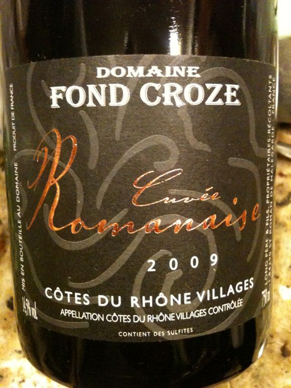 red wine, french wine, rhone wine, 2009 cuvee romanaise cotes du rhone wine